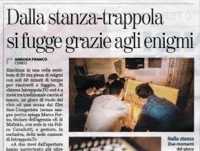 La Stampa - Intrappola.to: dalla stanza-trappola si fugge grazie agli enigmi