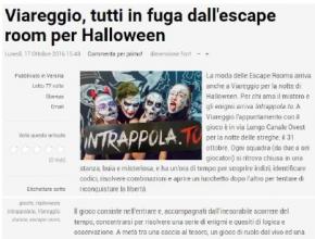 Lucca in diretta - Viareggio, tutti in fuga dall'escape room per Halloween
