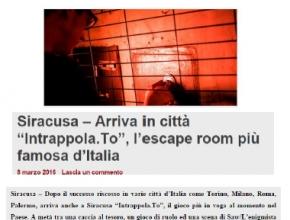 ReteRegione - Siracusa: arriva in città Intrappola.to, l'escape room più famosa d'Italia
