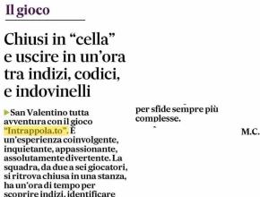"""Il Gazzettino Padova - Intrappola.to: Chiusi in """"cella"""" e uscire in un'ora tra indizi, codici e indovinelli"""